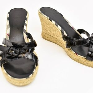 BURBERRY Black Leather & Nova Check Wedge Sandals